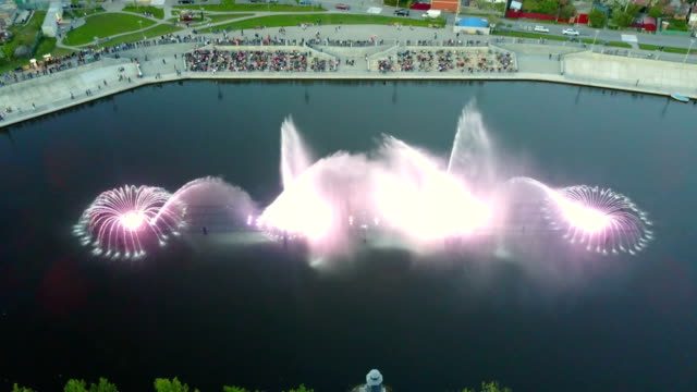 music fountain on the river - fountains stock videos & royalty-free footage