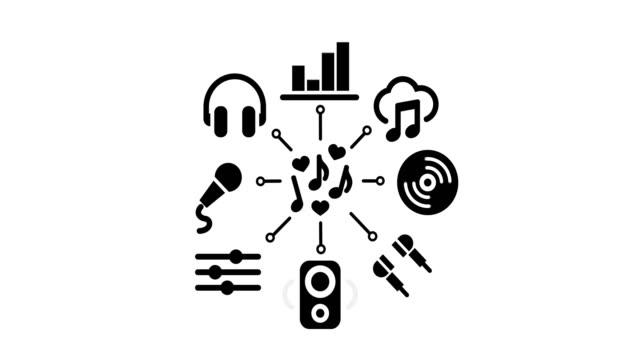 zestaw ikon muzyki - technika ilustracji filmów i materiałów b-roll