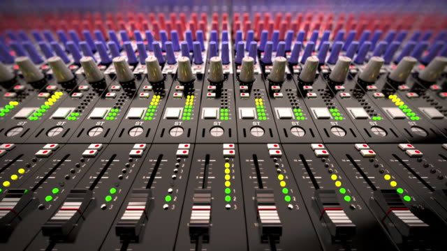Music Mixer desk table in recording studio.Loopable CG Music Mixer desk table in recording studio.Loopable CG. 1080p HD highest quality. closeup footage sound recording equipment stock videos & royalty-free footage