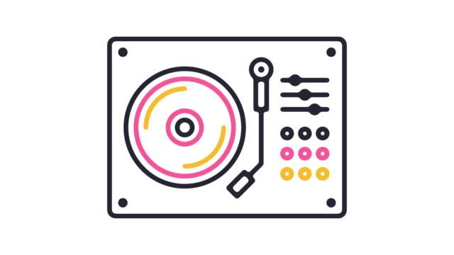 vídeos y material grabado en eventos de stock de animación de icono de mezclador de música - disco audio analógico