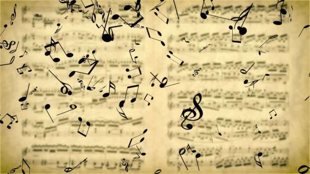 vídeos de stock e filmes b-roll de music notes falling on the blurred background with old music sheet - compositor