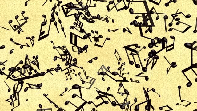 Music notes flowing on the old paper background, seamless animation