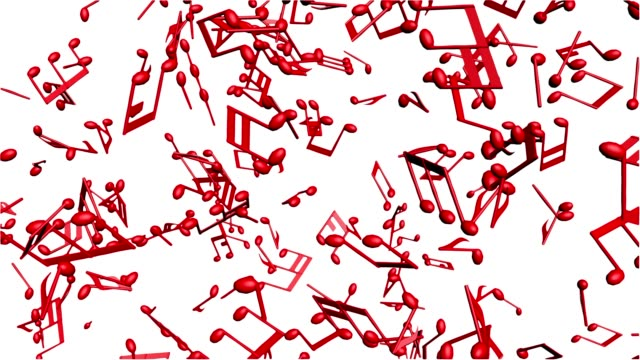 Music notes flowing on the white background, seamless animation