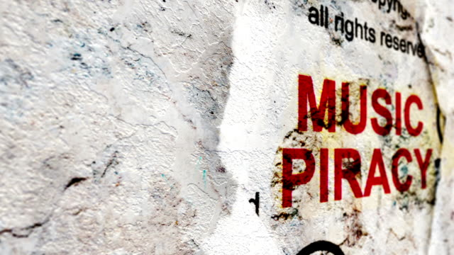 Music piracy text on grunge background video