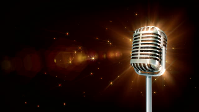 Music Retro microphone spin particle animation 4K 3d animation stage light stock videos & royalty-free footage