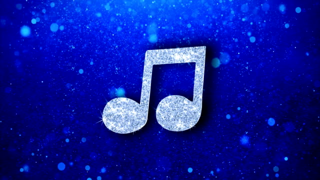 Music Song Chord Icon Blinking Glitter Glowing Shine Particles.