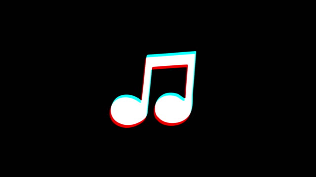 Music Song Chord icon Vintage Twitched Bad Signal Animation.