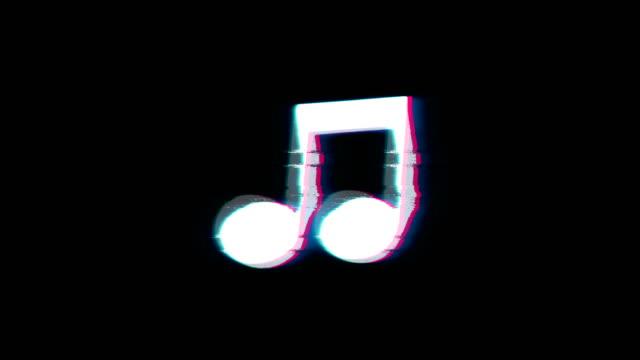 Music Song Chord Symbol on Glitch Retro Vintage Animation.
