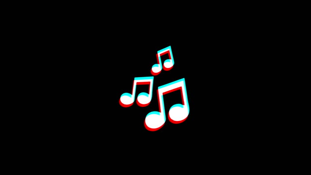 Music Song Chords icon Vintage Twitched Bad Signal Animation.