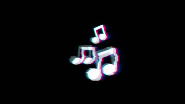 Music Song Chords Symbol on Glitch Retro Vintage Animation.