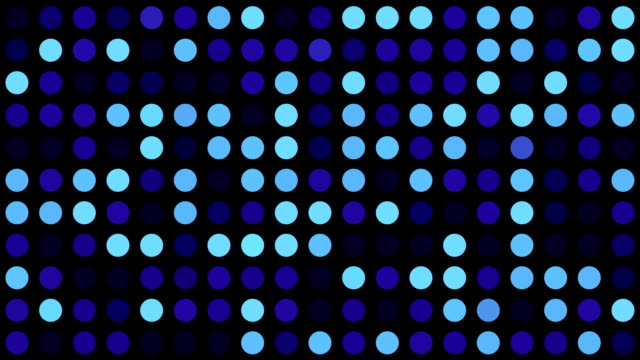 Music Video Background | Blue Multicoloured Circles  - Grid of Dots with Random Generative Effect on Black Background video