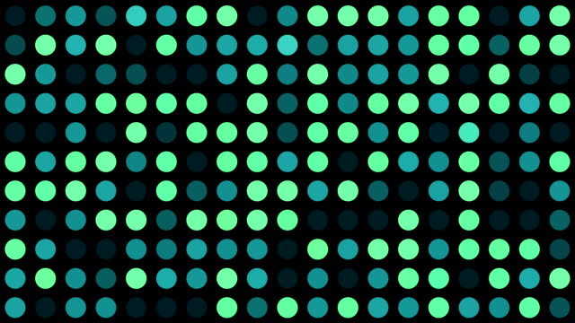 Music Video Background - Green and Turquoise Multicoloured Circles - Grid of Dots with Random Generative Effect on Black Background video