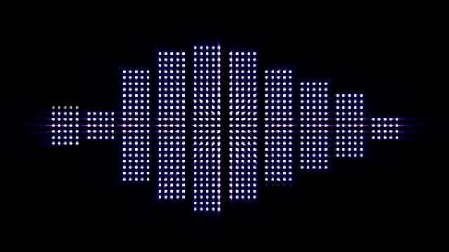 Music Waves, Lights Bulbs Animation, Rendering, Background, Loop video