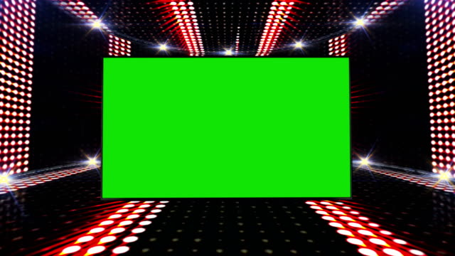 Music Waves Room, Lights Bulbs Animation and Green Screen Monitor, Rendering, Background, Loop video