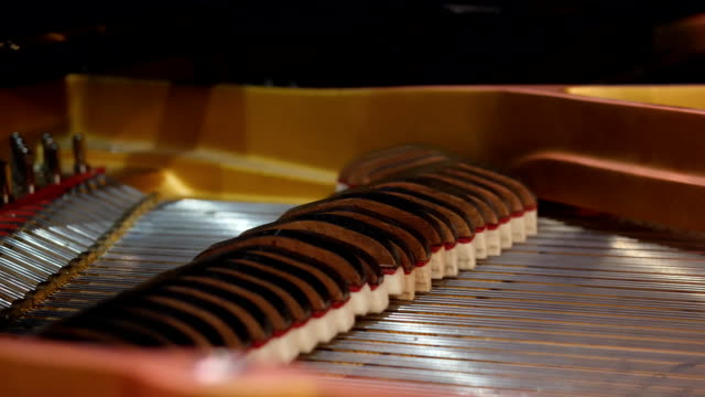 Musical instrument abstract: piano and piano strings. Playing the piano when the lid is opened, the strings rise and fall video
