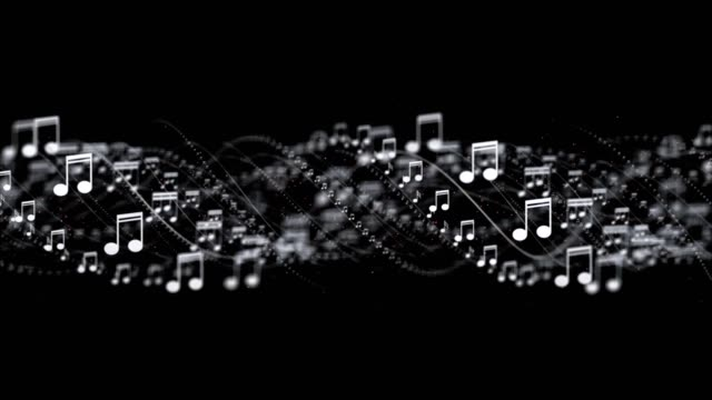 Musical Note Animation, Rendering, Background, Loop