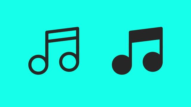 vídeos de stock e filmes b-roll de musical note icons - vector animate - nota