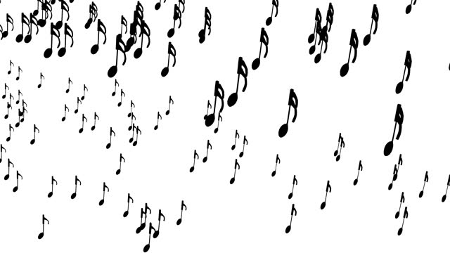 Musical note march, 3D rendering