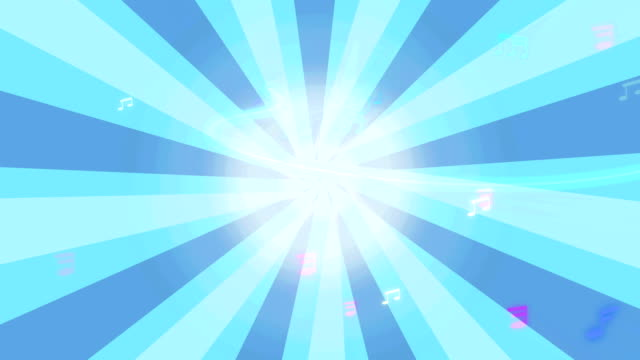 Musical Note running in blue Starburst animation.  Music Note such as minim,semibreve,semitone with staff line.