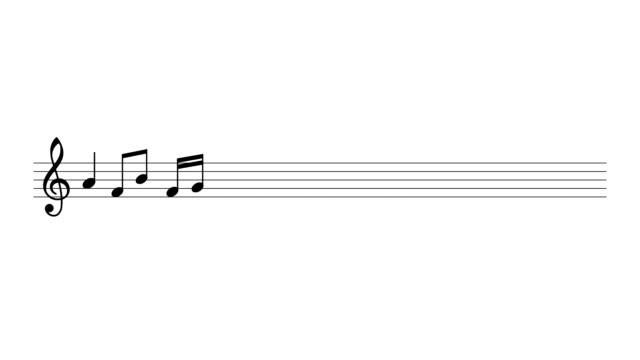 vídeos de stock e filmes b-roll de notas musicais brevemente sobre as linhas. - nota