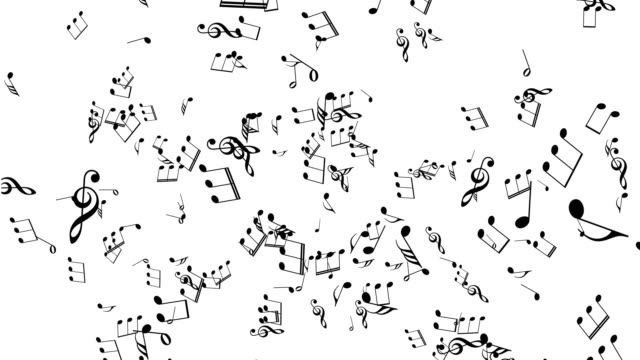 Musical Notes explosion On White Background