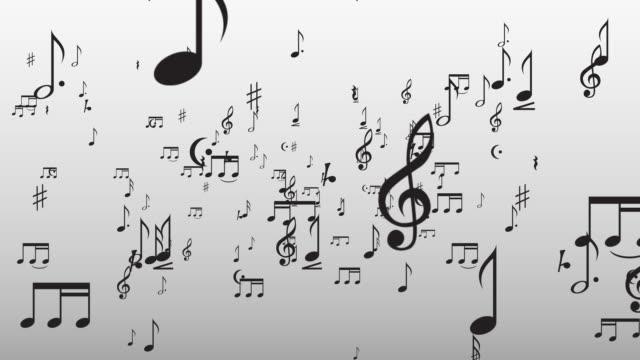 vídeos de stock e filmes b-roll de notas musicais a voar através da câmara - nota