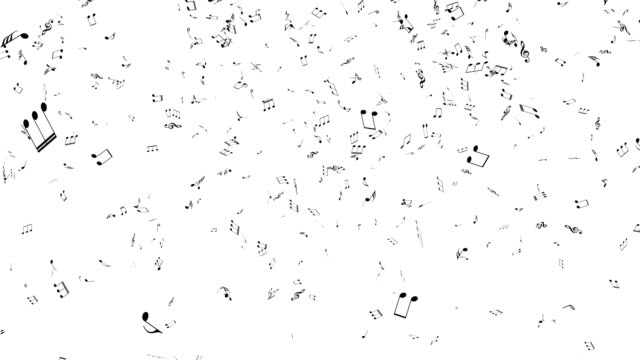 Musical notes flying.