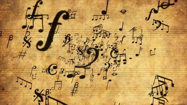vídeos de stock e filmes b-roll de notas musicais zoom loopable full hd - nota
