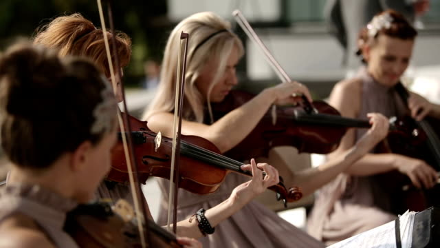 Musical quartet. Three violinists and cellist playing music. video