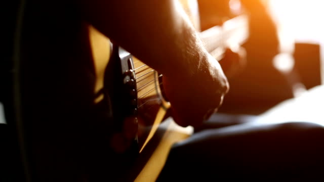 Musician playing acoustic guitar Practicing acoustic guitar hobbies stock videos & royalty-free footage