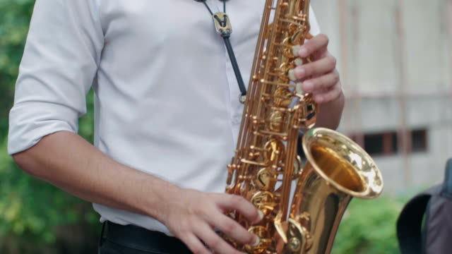 Musician playing alto saxophone video