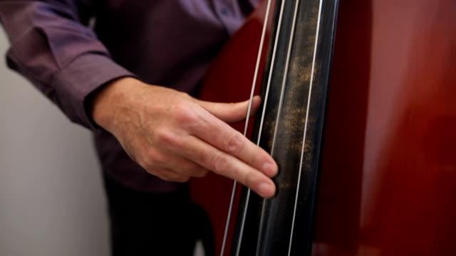 vídeos de stock, filmes e b-roll de músico que joga o baixo dobro ao lado do indicador - música acústica