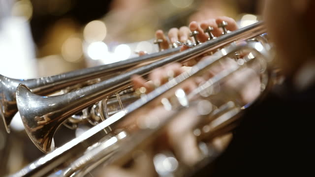 Musician playing French horn during concert video
