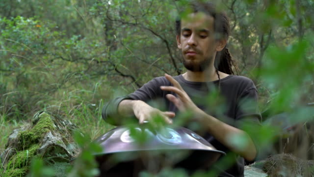 Musician playing handpan in forest (sound/audio available) video