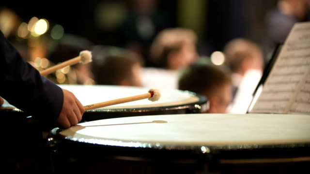 musician playing kettledrum - orchestra video stock e b–roll