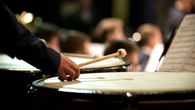 musician playing kettledrum Close-up shot of musician playing kettledrum. Male artist performing in music concert. He is hitting sticks on percussion instrument during event. performer stock videos & royalty-free footage