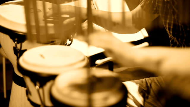 Musician Playing Percussion Sephia video