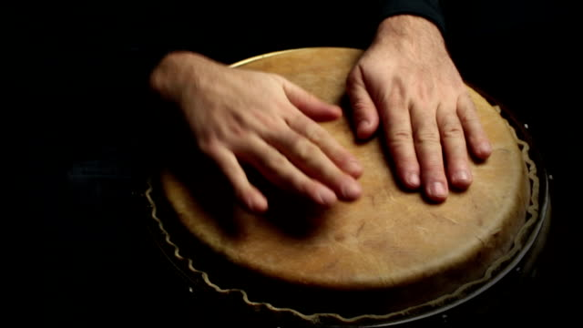 musician plays a rhythm with the conga, percussion instrument video