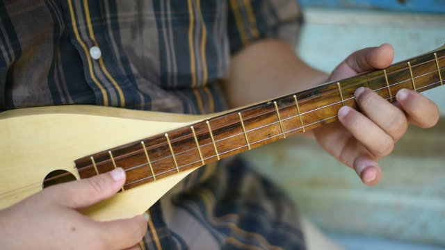 A musician plays mandolin at the vintage house. video