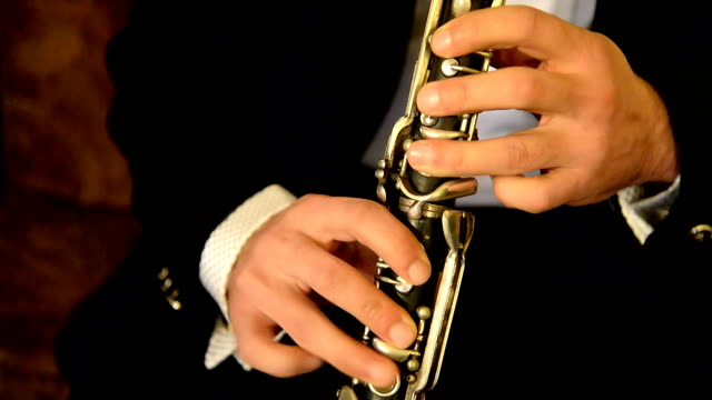 Musician plays the clarinet. musical instrument with a single reed.