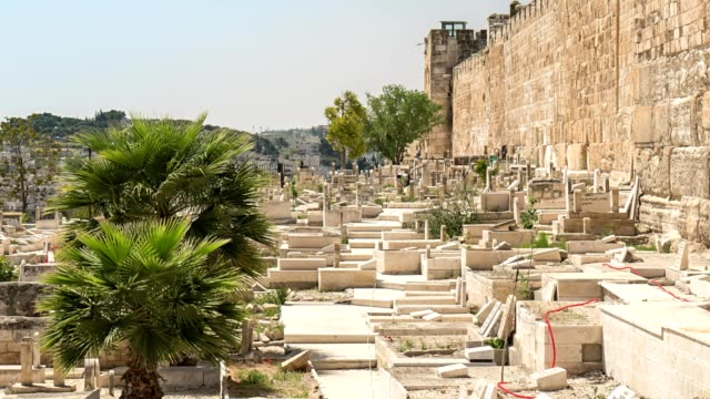 Muslim cemetery at the city wall of Jerusalem video
