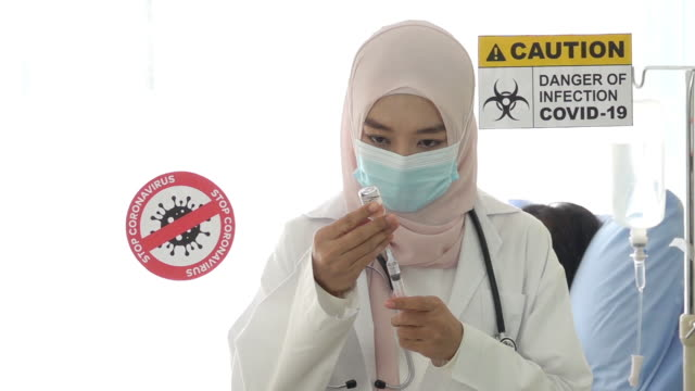 Muslim female doctors and vaccines against the virus. video