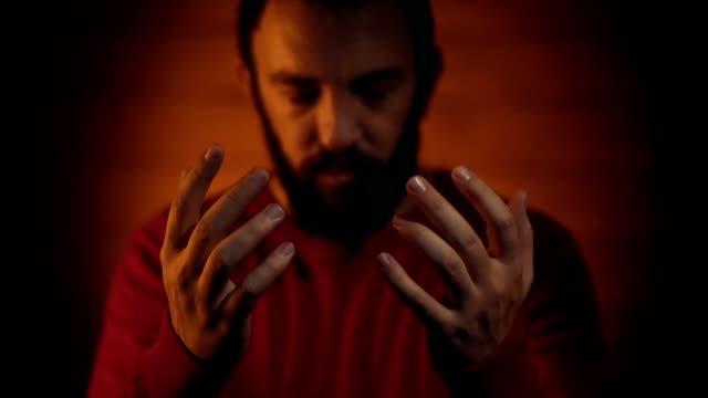 Muslim man praying to god. video