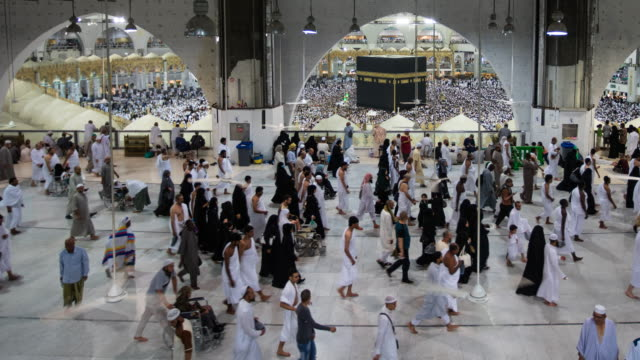 Muslim pilgrims touring the holy Kaaba in Mecca in Saudi Arabia video