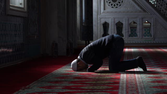 muslims prayer in mosque - ramadan stock videos and b-roll footage