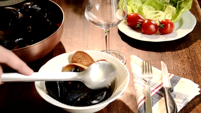 mussels marinara - italian food stock videos & royalty-free footage