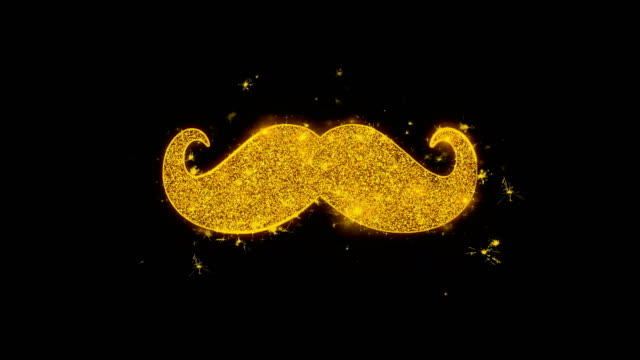 mustache icon sparks particles on black background. - baffo peluria del viso video stock e b–roll