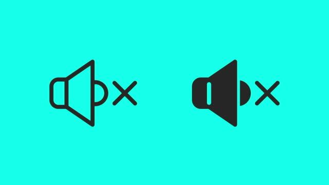mute icons - vector animate - cisza filmów i materiałów b-roll
