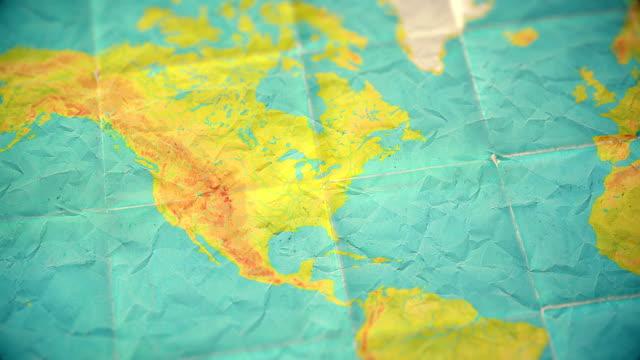 Videos de world map vintage y videos libre de derecho istock vdeo versin en blanco de apagados colores vintage mundo mapa zoom en amrica del norte gumiabroncs Image collections