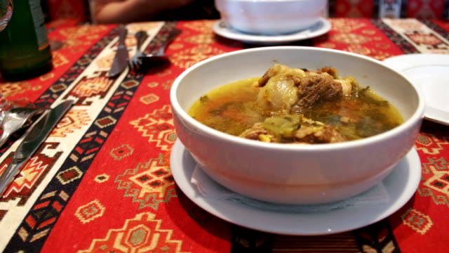 Mutton soup in the Restaurant. Soup of Piti, Azerbaijan National Dish video